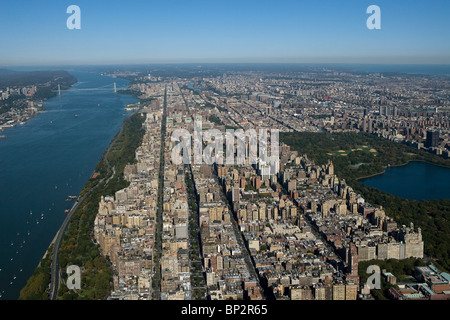 aerial view above upper West side Manhattan New York city - Stock Photo