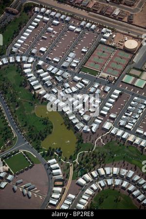 aerial view above mobile prefabricated home development Arizona - Stock Photo