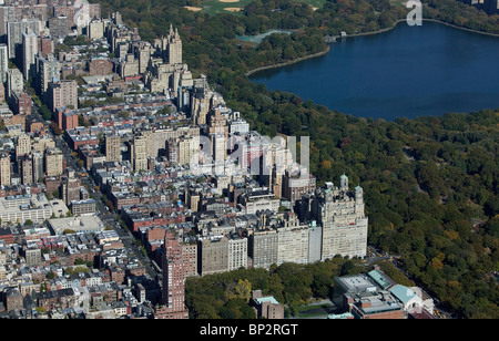 aerial view above upper west side Central Park Manhattan New York city - Stock Photo