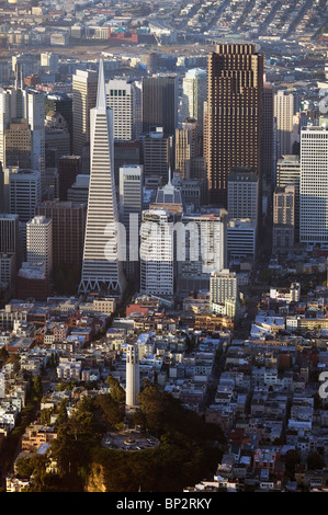aerial view above Coit Tower Transamerica Pyramid Bank of America building San Francisco California - Stock Photo