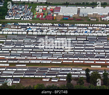 aerial view above mobile home trailers Baton Rouge Louisiana after hurricane Katrina - Stock Photo