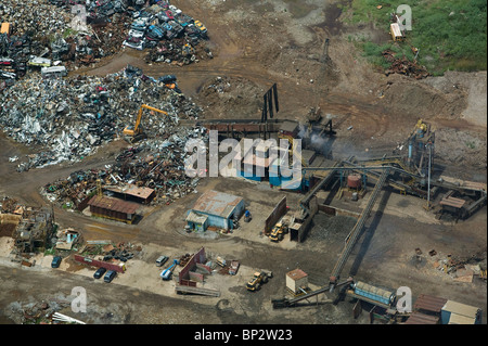 aerial view above preparing scrap metal for recycling New Orleans Louisiana - Stock Photo