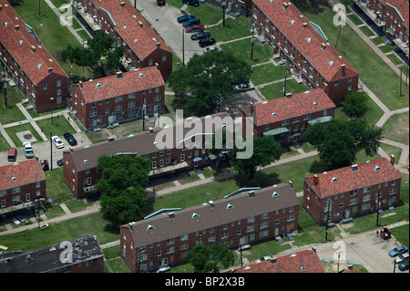 aerial view above brick apartment houses New Orleans Louisiana - Stock Photo