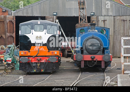 Two restored locomotives at th Railway Preservation of Ireland's workshops at Whitehead, Northern Ireland. - Stock Photo