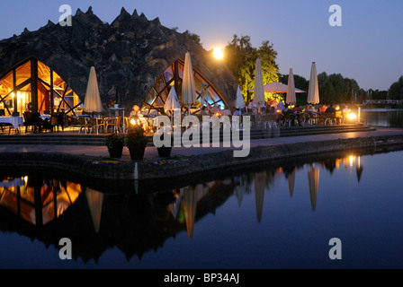 Café by the lake, BUGA Park, Britzer Garten, Bundesgartenschau Park, midsummer night, moon, Britz, Neukoelln, Berlin, - Stock Photo