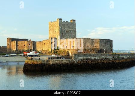 Carrickfergus Castle on the North Antrim Coast Road on shore of Belfast Lough. Norman period built by John de Courcy - Stock Photo