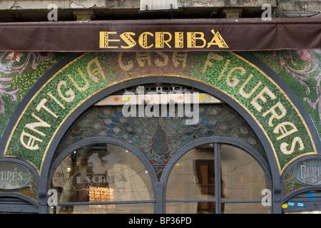 'Patisseria Escriba' designed by by Antoni Ros i Guell in 1902 and located in Las Ramblas in Barcelona - Stock Photo