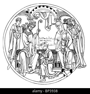 Black and White Illustration; Scene from the Guthlac Roll;12th century; The Life of Guthlac; Guthlac Receiving the - Stock Photo