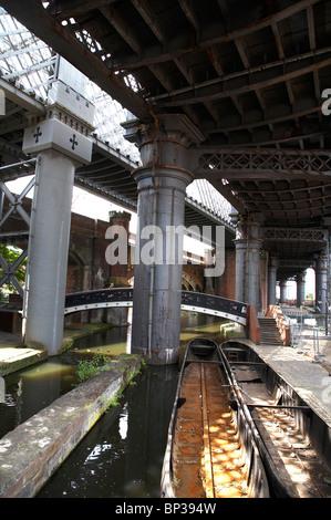 Victorian bridges in Castlefield Manchester UK - Stock Photo