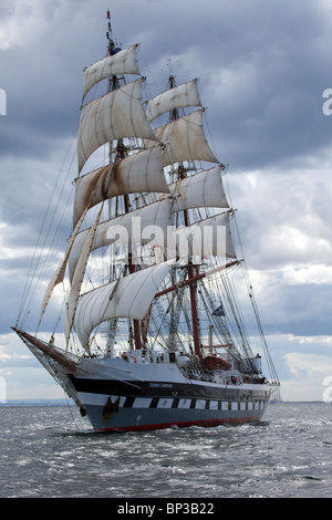 The two masted brig, tall sailing ship, of Stavros S Niarchos, under sail at Hartlepool 2010 Tall Ships Race, Teesside, - Stock Photo