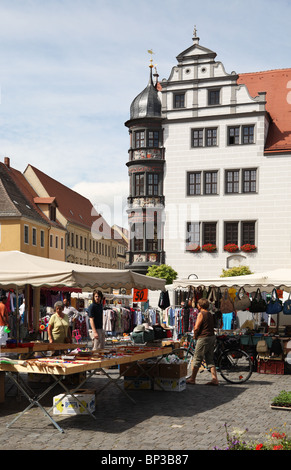 The market square of Torgau, a German town on the river Elbe. - Stock Photo