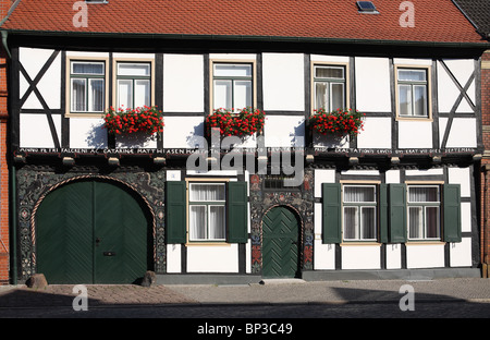 A 17th century half timbered house  in Tangermünde, a town on the river Elbe, Germany - Stock Photo