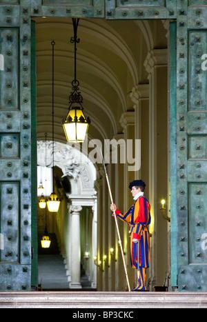 Papal Swiss Guard at St. Peter's Basilica, Vatican City, Rome Lazio Italy - Stock Photo