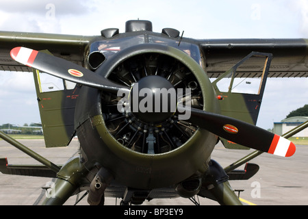 A front view of propellers on an Airplane - Stock Photo