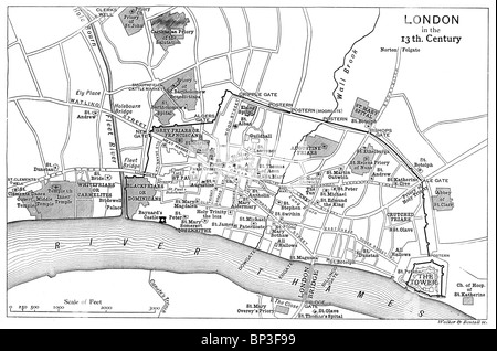 Black and White Illustration; Map of London as it was in the13th century; - Stock Photo