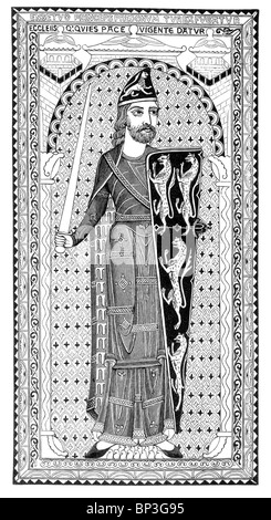 Black and White Illustration; Effigy of Geoffrey Plantagenet, Count of Anjou, on his tomb at Le Mans, France, 12th - Stock Photo