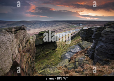 View to Blacker Edge at sunset from Buckstones Moss on The Marsden Moor Estate March Haigh near Huddersfield West - Stock Photo
