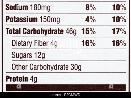 The nutrition label from a cereal box emphasizing that the product is high in sugar and other carbohydrates. - Stock Photo