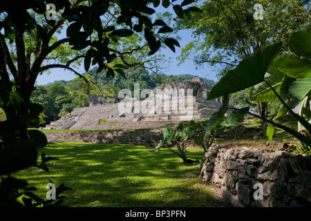 Palenque Archeological Site ruins, The Palace, Chiapas, Mexico - Stock Photo