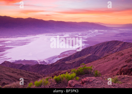 Sunset over Death Valley from Dante's View, Death Valley National Park. California - Stock Photo