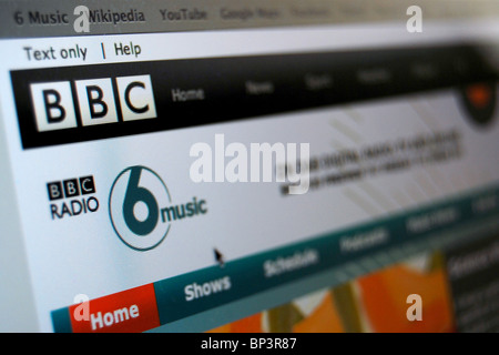 A photo illustration of the BBC 6 Music Website or homepage - Stock Photo