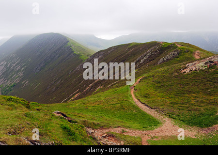 Scar Crags and Sail Fell from Causey Pike in the Lake District National Park, Cumbria. - Stock Photo