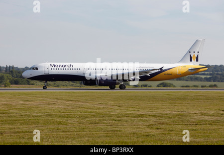 Monarch Airlines Airbus A321-231 taking off at Luton Airport, Bedfordshire, England, United Kingdom - Stock Photo
