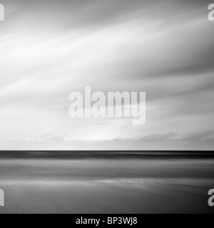 straight line on the horizon, the north sea in a long exposure. - Stock Photo