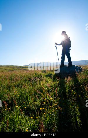 Hiker on the island Runde in Herøy kommune, Møre og Romsdal fylke, west coast of Norway. - Stock Photo