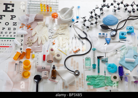 Horizontal image of medical props - Stock Photo