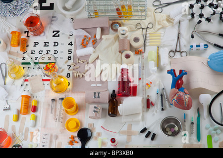 collection of health care medical items - Stock Photo
