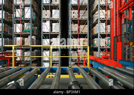 High rack warehouse of the Suederelbe Logistik, Hamburg, Germany - Stock Photo