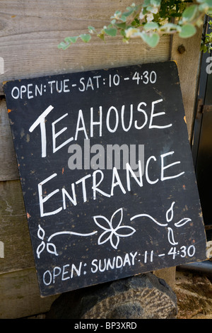 Black board / chalk board outside the tea shop / tea house (not restaurant) at Petersham Nurseries, Richmond upon - Stock Photo