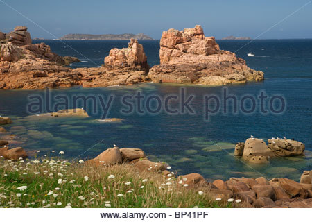 Côte de granit rose at Ploumanac'h near Perros Guirec in Brittany - France - Stock Photo