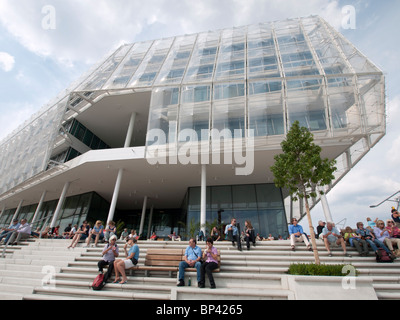 Headquarters of Unilever on riverside promenade in new Hafencity property development in Hamburg Germany - Stock Photo