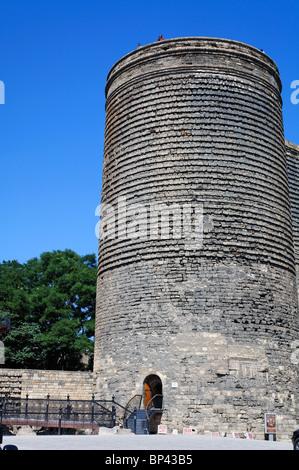 Azerbaijan - Baku - Maiden's Tower in Baku Old Town - Stock Photo