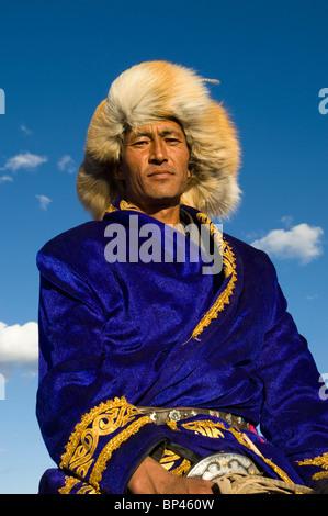 mongolian man with a traditional fur hat mongolian