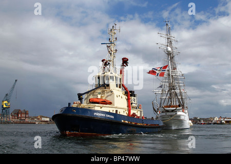 Tugboat Phoenix Cross Class A  towing the Christian Radich; Tall ships at the Hartlepool Festival Race 2010, North - Stock Photo