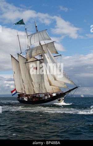 Oosterschelde, three-masted schooner from the Netherlands, built in 1918. Majestic Sailing Vessels 54th Annual Tall - Stock Photo