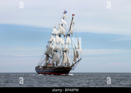 Stad Amsterdam at sea, a sailing voyage under square sail. Majestic Sailing Vessels at the 54th Annual Tall Ships - Stock Photo