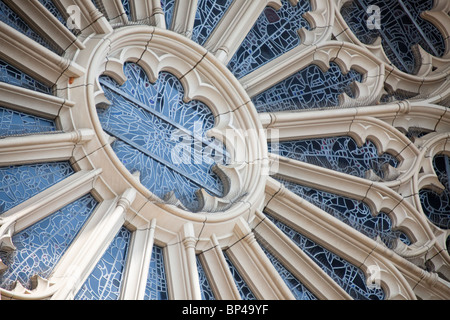 A stained glass window decorates the exterior of the Washington National Cathedral in Washington, DC. - Stock Photo