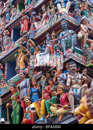 Carvings at the Hindu Sri Mariamman temple in Singapore. - Stock Photo