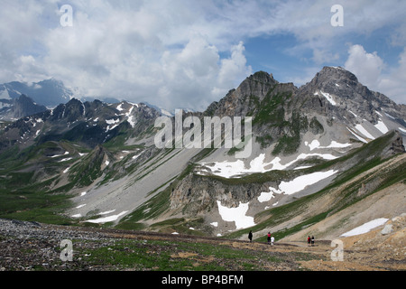 Mountains near Tignes  Val D'Isere in the Alps Savoie FRance Europe Summer - Stock Photo