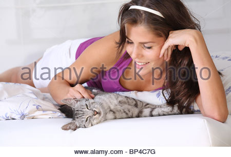 young brunette woman fondling domestic cat - Stock Photo