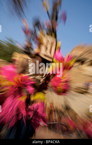 The masked dance in Tereli, Dogon country, Mali West Africa - Stock Photo