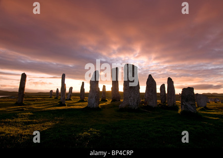 Sunset over the Callanish Standing Stones Calanais, Isle of Lewis Outer Hebrides, Scotland. SCO 6271 - Stock Photo