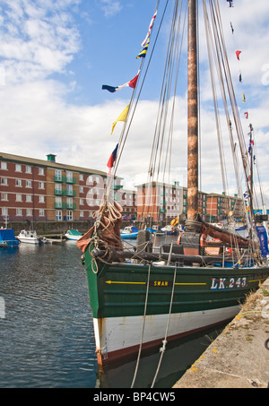 Hartlepool Marina. Looking across one of the sailing boats in the marina for the tall ships race, 2010. - Stock Photo