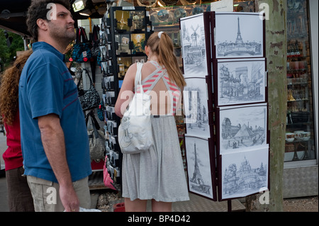 Paris, France, Tourists Visiting Eiffel Tower, Buying Souvenirs in Local Shop - Stock Photo