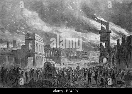The burning of Columbia, South Carolina, February 17, 1865 during the USA Civil War - Stock Photo