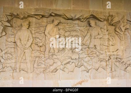 Memorial sandstone carving sculpture to the World war 2 massacre at Lidice near Prague Czech Republic Europe - Stock Photo